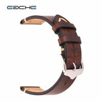 кожаные наручные часы оптовых-EACHE Wholesale Retail 20mm 22mm Crazy Horse Handmade Genuie Leather Watch band Straps Different Colors & Size