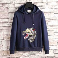 Wholesale Famous Triangles - 2018 Italy famous brand gucc Mens Animal wolf print Skateboards Hoodie Male 100% Cotton Triangle Sweat Sweatshirt Hoodies