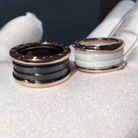 Wholesale Titanium Couple Ring Black - AAA quality Italy Luxury Titanium rings of black&white ceramic Women Men Classic ceramic Jewelry Wedding couple lover ring