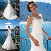 Wholesale vintage beach lace wedding dresses for sale - Group buy Vintage Simple Beach Spaghetti Straps Lace Mermaid Wedding Dresses Sheer Illusion Back Sleeveless Bridal Gowns