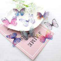 ingrosso farfalle di organza di nozze-10PCS Colla sulla farfalla di Organza, farfalla di cristallo, mestiere del copricapo, decorazione dei monili di cerimonia nuziale, rifornimenti dei monili di DIY