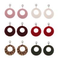 fauxpelzkorea großhandel-Mischungs-Farben-neue Ankunfts-ausgehöhlte Band-Baumel-Ohrringe für Frauen-Korea-Imitat-Pelz-bunte Ohr-Abnutzungs-Art- und Weiseschmucksachen 24pair