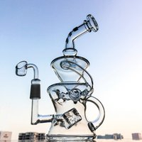 Wholesale Cube Inches - Fab Egg Klein Recycler Bong 9.5 Inch Recycler Oil Rigs Cube Perc Glass Bongs 14.5mm Joint Water Pipes Dab Rig DGC1287