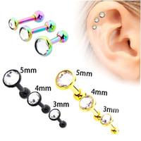 Discount cartilage body jewelry - Unique Ear Nail Crystal Ear Bone Barbell Earring Cartilage Piercing Helix Ear Stud Tragus Earrings Body Piercing Jewelry 3 Pcs set