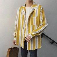 koreanische kleidung männer neuen stil großhandel-2018 Frühling neue Männer koreanischen Stil Mantel Mode Streifen Kleidung lose beiläufige Langarm Slim Fit Französisch Manschette Shirts M-2XL