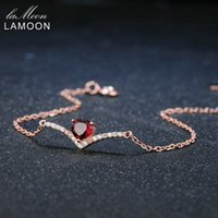 granat herz armband großhandel-Lamoon Heart 100% Natürlicher Edelstein Klassiker Rot 0.3ct Granat 925 Sterling Silber Schmuck 18KGP Kette Charm Armband S925 LMHI011 S18101507
