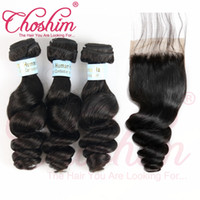 renk 32 saç örgüsü toptan satış-Choshim İpek Bankası Kapatma Ile Saç Demetleri Brezilyalı Remy Saç Örgü Ipek Taban Kapatma Tam Başkanı Doğal Renk Gevşek Dalga Ücretsiz Gemi