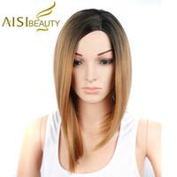 Aisi bellezza più venduti Corti Lisci Bob parrucche per le donne sintetico  Ombre Brown Bob parrucca di trasporto fd1156a9c20c