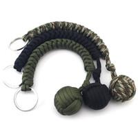 anahtar zincir savunma toptan satış-Açık Kendini Savunma Survival Bilezikler Yedi Çekirdekli Paraşüt Kordon Ile Örgülü Anahtar Toka Çelik Top Asılı Zincir Yeni Varış 5 8 mx B