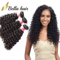 siyah kıvırcık saç toptan satış-Bella Hair® 8A 8 ~ 30 inç BrazilianHair Paketler İşlenmemiş İnsan Saç Çift Atkı Saç Sapıkça Kıvırcık Örgü 3 adet / grup Siyah Renk Saç Uzantıları