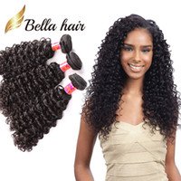 Wholesale 3pc hair weave for sale - Group buy Bella Hair A inch BrazilianHair Bundles Unprocessed Human Hair Double Weft Hair Kinky Curly Weave pc Black Color Hair Extensions