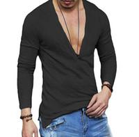 moda masculina t shirt venda por atacado-V profundo Manga Longa Camisetas Moda New Sexy Masculino Tops Outono Inverno Casual T-shirts
