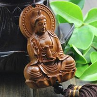 ingrosso scultura buddista-Scultura in legno Buddha Beads Buddismo cinese regali di Halloween Shakyamuni Statua Scultura Amuleto Ciondolo Auto Netsuke AHJ004