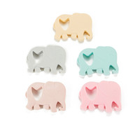 Wholesale organic teething necklace - Baby Teethers Silicone Elephant Teether Toy BPA Free Chew Pendant Baby Teething Beads Food Grade Silicone DIY Pendant Necklace Accessories