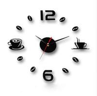 diseños de cocina de pared de café al por mayor-Tazas de café Cocina arte de la pared 3d diy relojes de pared espejo reloj de diseño moderno relojes decoración del hogar DIY decoración adhesivo sala de estar