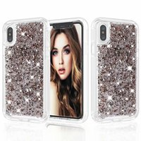 Wholesale grey foil - Glitter Bling Gold Foil Hybrid Case 2 In 1 Dual Layer PC TPU Full Body Protection Cover For iphone X 8 7 6s 6 Plus Samsung S9 Plus OPP Aicoo