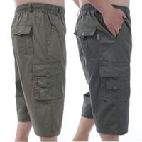 9de111bcc02 Short de verano para hombres Baggy Multi bolsillo cremallera Mens Cargo  Short calzones calientes Male Long Army Green Khaki Gray Plus Size