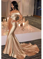 Wholesale Hot Selling Mermaid One Shoulder - Hot Sell Champagne Off Shoulder Prom Dresses 2018 Mermaid Pleats Sweep Train Satin Evening Gowns Cheap Cocktail Dress