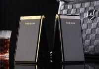 celulares dual screen sim card venda por atacado-Luxo Dual Screen Flip telefone celular de Metal Corpo Sênior Dual Sim cartão da câmera MP3 MP4 3.0 Polegada Tela de Toque do Telefone Móvel