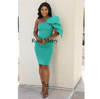 klasik yeşil diz boyu elbise toptan satış-Seksi Bir Omuz Kısa Kokteyl Balo Parti Elbiseler 2020 Ucuz Basit afrika Arapça Diz Boyu Yeşil Saten Siyah Kadınlar Örgün Akşam kıyafeti