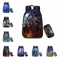 Wholesale types pc case - 25 colors 2 pcs  set Game Fortnite Printing Backpacks With Pencil Case School Bag Boys Girls Bookbag Fortnite Print Shoulders bag MMA380
