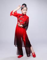fã chinês clássico venda por atacado-Chinês Yangko Vestido Fan Dance Costume Meninas Roupas de Dança Clássica Performances Modernas Traje Nacional das Crianças
