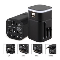 Wholesale wholesale cell phones usa - Travel Adapter with Dual USB Charging Ports for USA EU UK AUS Cell phone laptop (Black)