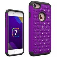 diamant-silikon-etuis für iphone großhandel-Für Iphone 7 Fall Luxus Bling Glitter Diamant-hybrider Verteidiger-rauer weicher Silikon-Kasten-Abdeckung für iPhone 7 7plus