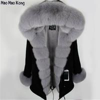 manteau violet à la longue femme achat en gros de-Parka en fourrure noire avec fourrure détachable femme hiver veste épaisse véritable manteau de renard à capuche femelle parka violet