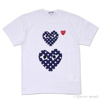 Wholesale Men S Polka Dot Shirt - 2018 wholesale AAA Quality Hot HOLIDAY Heart Emoji PLAY Japanese White Black Polka Dots Heart White T-shirt Black Size L prompt decision