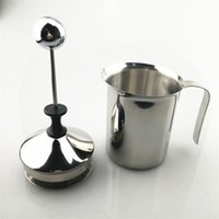 Wholesale coffee mesh - 400ml Manual Milk Frother Double Stainless Steel Mesh Beater Tool Cappuccino Coffee Creamer Foamer Practical Kitchen Accessory 19jg YY