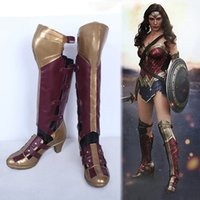 Wholesale wonder woman costume cosplay online - Wonder Woman Diana Cosplay Shoes Women Knee High Boots