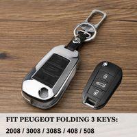 citroen c4 için kilit durum toptan satış-Gerçek Deri Çevirme Araba Anahtarı Kapağı shell kılıf Citroen C4 CACTUS C5 C3 C4L Peugeot 508 301 2008 3008 için anahtar Çan ...