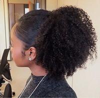 extensión de cola de caballo natural del cabello humano al por mayor-Extensiones de cola de caballo de cabello humano Afro Kinky Curly de 60 g Kinky Curly con cordón de cabello humano postizos de cola de caballo clip rizado natural en cola de caballo