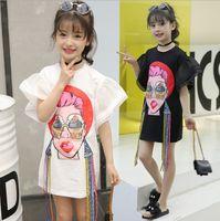 schönes mädchen t-shirt großhandel-Große Mädchen T-Shirt Mode 2018 Kinder Mädchen Kleidung Mund schöne Frau gedruckt Quaste Flare Hülse Kinder Tops Sommer Casual Dress C3498