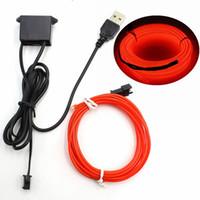 neon dize ışıkları toptan satış-1/2/3/5/10 M 5 V USB Denetleyicisi Ile EL Tel Neon Işık LED Dize Işık Lambası Esnek Twinkle Glow Halat Tüp Tel LED şerit