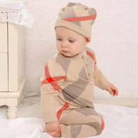 Wholesale knitting baby boy clothes resale online - Boys Girls rompers Sweaters Baby plaid Pullover Knit Kids Clothes Autumn winter New Kids Sweaters Boy Girl Clothing
