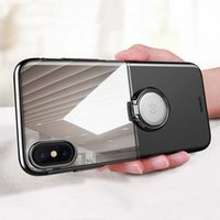 Wholesale iphone popular case - Luxury Brand Metal Ring Holder case for iphone X 8 8 plus Transparent PC Hard Back Cover For 7 7 plus Popular
