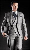 calça de kerchief venda por atacado-De alta qualidade manhã casaco cinza claro noivo smoking lapela lapela groomsmen casamento homens (jaqueta + calça + colete + gravata + lenço)