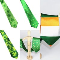 Wholesale theme party supplies for sale - Disposable Tie New Festive Party Supplies Theme Necktie Digital Printing Green Clover Ireland Flag Polyester Fiber xw V