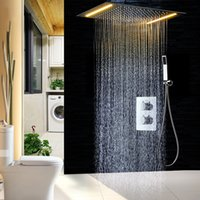 Wholesale shower ceiling mount - 2 ways Luxury LED Ceiling Mounted Shower Set Thermostatic Mixer Bathroom Led Rainfall LED Shower Head 360*500mm color Shower