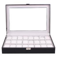 acryl-box-top großhandel-Große Leder 24 Grid Uhr Vitrine Acryl Fenster Top Schmuck Box Organizer Uhr Verkäufer Muss Boxen Collect Classic