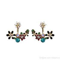 Wholesale flower file - Hanging Ear Nail Colour Crystal Flower High File. Women's Earrings Ear Nail