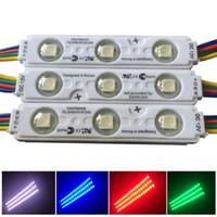 módulo led 12v ip65 resistente al agua al por mayor-Colorfull RGB SMD5050 Módulo de luz LED 3LED Módulos LED de inyección RGB negro con lente DC12V Módulo de luz IP65 a prueba de agua