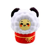 Wholesale lamb toys - 9 CM New Year Popcorn Lamb Cartoon Sheep Squishy Slow Rising Phone Straps DIY Decor Kawaii Animal Doll kid Toy Gift P15