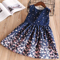 Wholesale western summer clothing for sale - Girls Bow Butterfly Floral Ruffles Dress Lovely Kids Blue Color Clothes Princess Western Fashion Spring Summer Dress