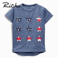 Wholesale Fashion Shirt For Kids Girls - Richu stars printed summer clothes t shirts for boys children kids tops tees striped short sleeve shirts spide baby t-shirt o neck cotton
