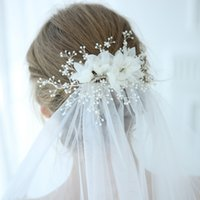 Wholesale gorgeous wedding hair online - 2019 Gorgeous Tulle Floral Bridal Headpiece Pearls Hair Jewelry Silver Color Wedding Hair Clip Crown Accessories