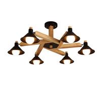ingrosso lampada da disegno in legno-Lampadari in legno bianco moderno nero E27 LED di design moderno Nordic Design per sala da pranzo del bar