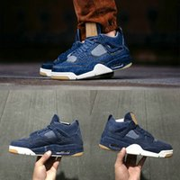 Wholesale Best Quality Denim - Retro 4 Air men Basketball Shoes Denim Jean Joint New Trend Best Quality Mens Athletics Boots AO2571 Cheap Sport IV Sneakers US 5-13